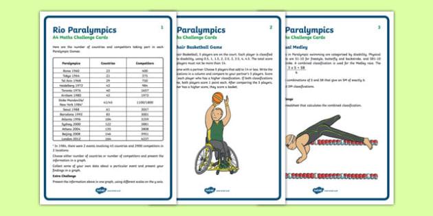 UKS2 Rio Paralympics Maths Challenge Cards