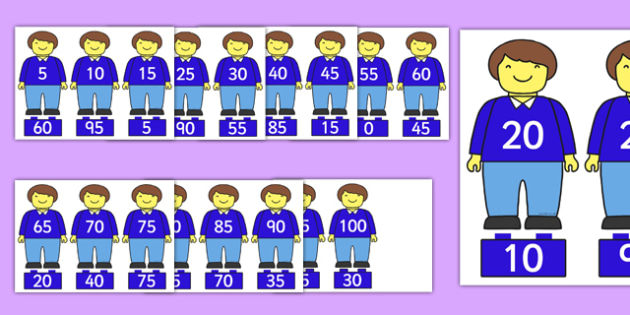 Multiples of 5 on Brick Men - multiples of 5, brick men, multiples, 5, display, numeracy, maths