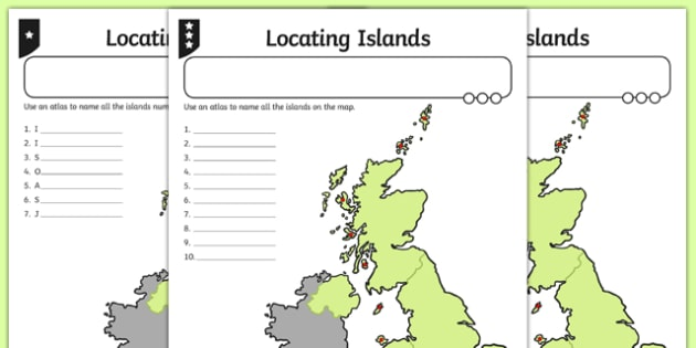 Locating British Islands Differentiated Activity Sheet Pack, worksheet