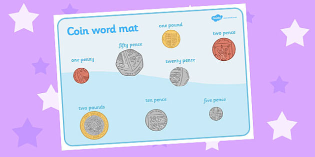 Coin Word Mat - Coin, coins, writing aid,  Money, coins, pounds, pence, foundation numeracy, coin