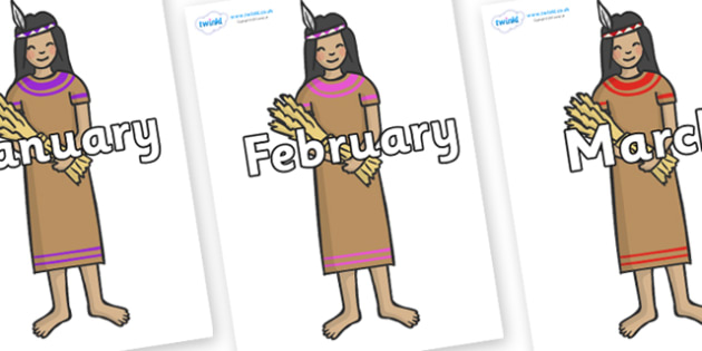 Months of the Year on Native American - Months of the Year, Months poster, Months display, display, poster, frieze, Months, month, January, February, March, April, May, June, July, August, September