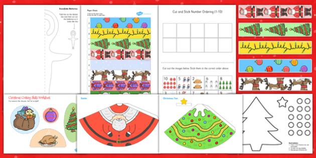Christmas Themed Scissor Skills Pack - christmas, scissor, skills, pack