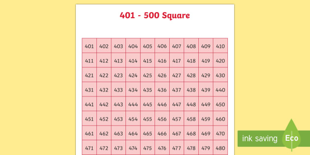 401-500 Square - number square, hundred square, number, numbers, square, count, 401-500
