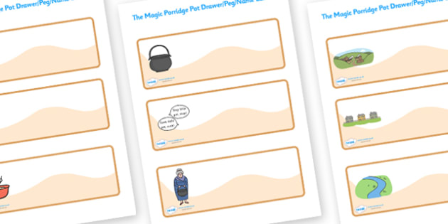 The Magic Porridge Pot Small Editable Drawer Peg Name Labels - magic, porridge, pot, little girl, lady, magic pot, cook, magic words, Wren Label Templates, Resource Labels, Name Labels, Editable Labels, Drawer Labels, Coat Peg Labels, Peg Label, KS1