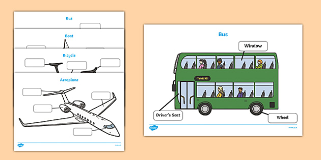 Transport Labelling Sheets - transport, car, lorry, motorbike, boat, parts, label, labelling, parts, bits, window, door, bumper