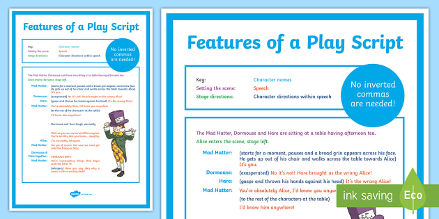 Features of a Play Script Display Poster - play scripts, features of play scripts, play script texts, play script poster, play script features poster, ks2
