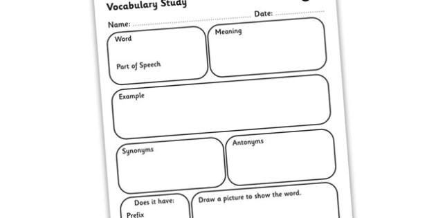 Vocabulary Word Study Worksheet - vocabulary worksheet, word study worksheet, word break down worksheet, words worksheet, dictionary work worksheet, ks2
