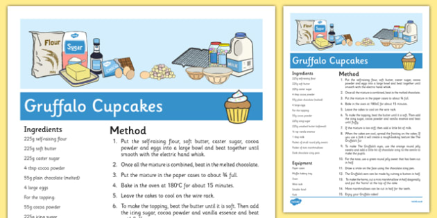 Gruffalo Cupcakes Recipe to Support Teaching on The Gruffalo - EYFS, cooking, baking