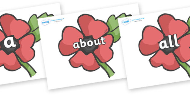 100 High Frequency Words on Poppies - High frequency words, hfw, DfES Letters and Sounds, Letters and Sounds, display words