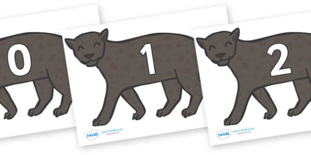 Numbers 0-31 on Panthers - 0-31, foundation stage numeracy, Number recognition, Number flashcards, counting, number frieze, Display numbers, number posters