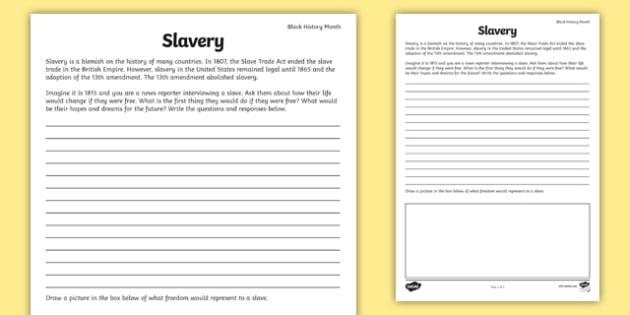 Slavery Writing Prompt - slavery, writing prompt, writing, prompt