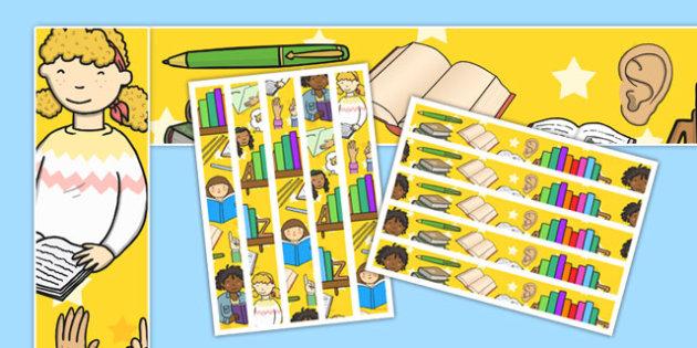 English Themed Display Borders - margin, edging, literacy, language, words, colourful, topic, showcase, early years, ks1, ks2