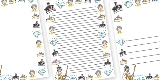 Diamond Jubilee Page Borders - diamon jubilee, jubilee, queen, queen's, wedding anniversary, roay family, Queen Elizabeth II, Elizabeth II, page border, border, writing template, writing aid