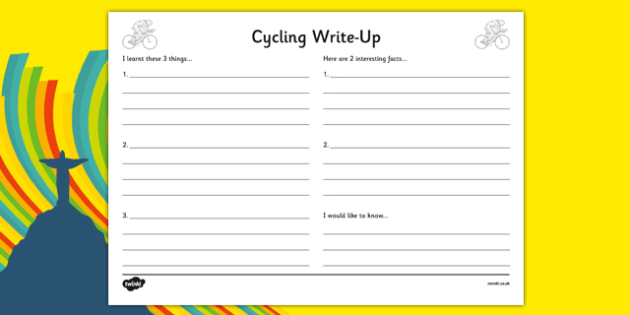 The Olympics Cycling Write Up Worksheet - the olympics, rio olympics, 2016 olympics, rio 2016, cycling, write up