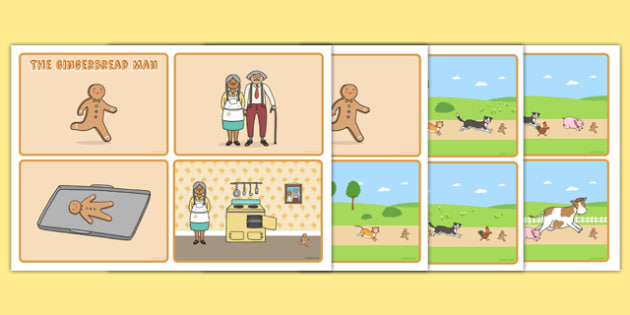 The Gingerbread Man Themed 4 per A4 Story Sequencing Cards - xmas