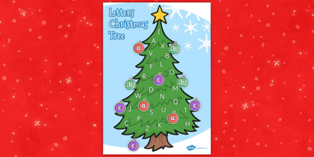 Upper and Lowercase Letter Christmas Tree Matching Activity