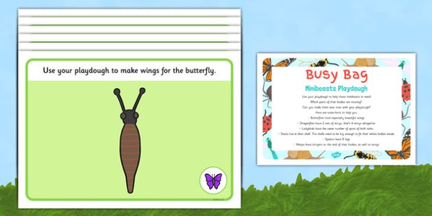 Minibeasts Playdough Busy Bag Prompt Card and Resource Pack - butterfly, ladybird, spider, wasp, dragonfly, snail