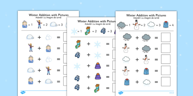 Winter Themed Addition with Pictures Activity Sheets Romanian Translation - romanian, winter, themed, addition, pictures, activity, sheets, worksheet