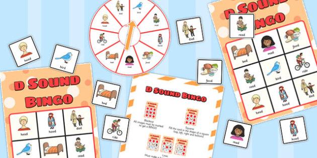 Final 'D' Sound Spinner Bingo - final d, sound, spinner, bingo