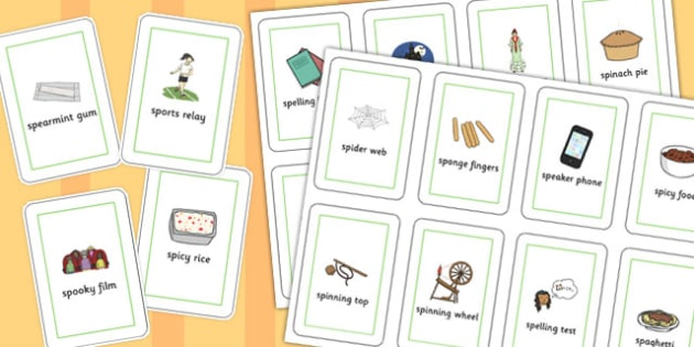Three Syllable SP Playing Cards - sp, syllable, sen, sound, playing cards