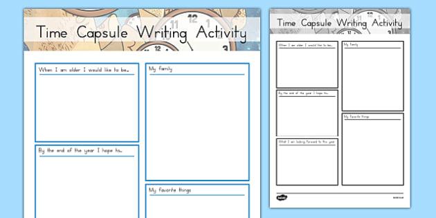 Time Capsule Writing Activity Sheet, worksheet