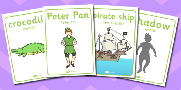 Peter Pan Display Posters Romanian Translation - romanian, peter