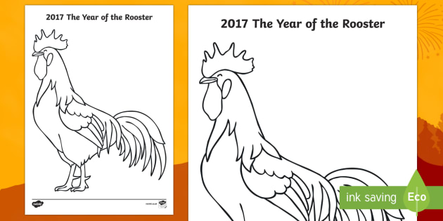 Chinese New Year 2017 The Year of the Rooster Colouring Page