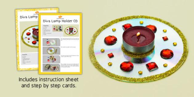 Diva Lamp Holders CD Craft Instructions - diva lamp, holders, cd, craft, instructions
