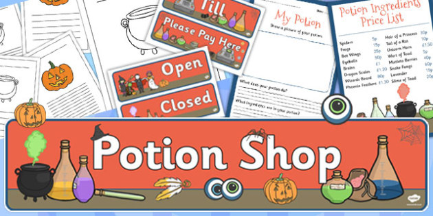 Potion Shop Role Play Pack - potion shop role play pack, role play, witch, potions, dangerous, the magic potion, magic, potion, recipe, writing, independent writing, writing frame, frames, creative writing, frogs, spiders, witch
