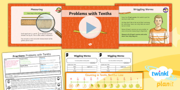 PlanIt Y3 Fractions Lesson Pack Solve Problems Involving Fractions (1) - Fractions, problem solving, measuring, cm, centimetres, mm, millimetres, tenths, decimals, ordering fractions, ordering tenths