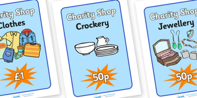 Charity Shops Posters - charity shop display posters, charity shop, charity shop role play, charity shop items, charity shop item posters, shop display