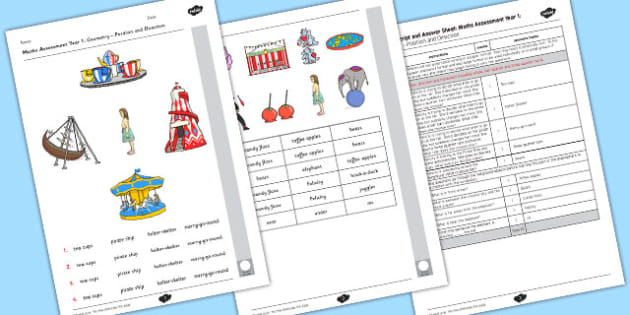 Year 1 Maths Assessment: Geometry - Position and Direction Term 1 - maths, year 1, assessment, geometry, position, direction