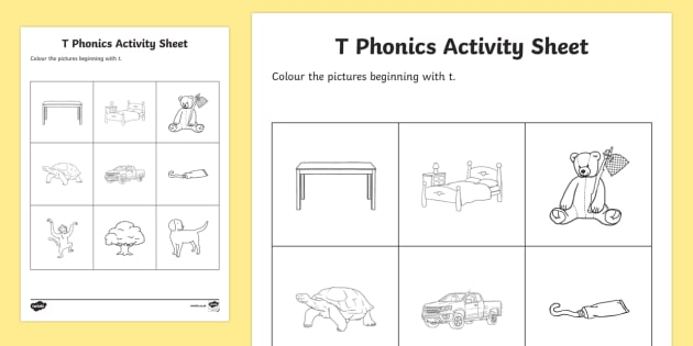 t Phonics Colouring Activity Sheet - Republic of Ireland, Phonics Resources, sounding out, initial sounds, phonics assessment, colouring,