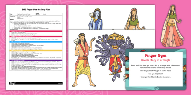 EYFS Diwali Story in a Tangle Finger Gym Plan and Resource Pack, diwali story for early years