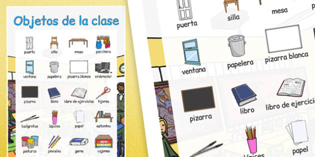 Objetos de la clase Vocabulary Large Display Poster Spanish - spanish, classroom, objects, large, display, poster