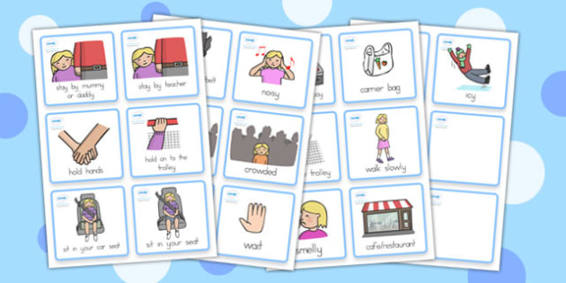 Special Needs Communication Cards Out and About Girl - cards