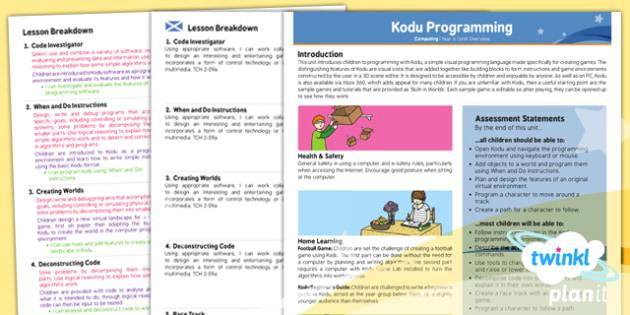 PlanIt - Computing Year 6 - Kodu Programming Planning Overview CfE - planit