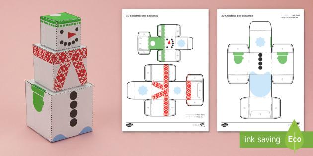 Simple 3D Christmas Box Snowman Activity Paper Craft - Christmas, winter, paper craft, 3D paper craft, snowman, the snowman, gift box,  - 3D, paper craft, Christmas decorations, Christmas, nets, snowman, snow person