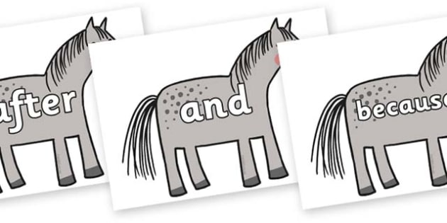 Connectives on Horse to Support Teaching on What the Ladybird Heard - Connectives, VCOP, connective resources, connectives display words, connective displays