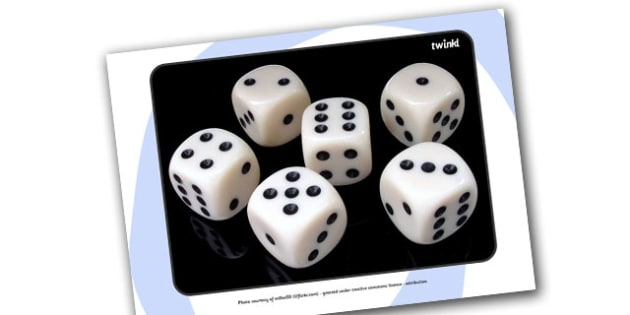 A4 Dice Display Photos - dice, die, numbers, display, photos, sign, numeracy, counting, activity, giant dice, foundation stage numeracy, A4