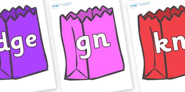Silent Letters on Bags - Silent Letters, silent letter, letter blend, consonant, consonants, digraph, trigraph, A-Z letters, literacy, alphabet, letters, alternative sounds