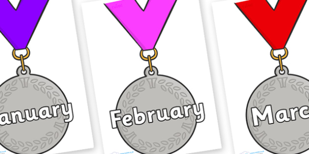 Months of the Year on Silver Medal - Months of the Year, Months poster, Months display, display, poster, frieze, Months, month, January, February, March, April, May, June, July, August, September
