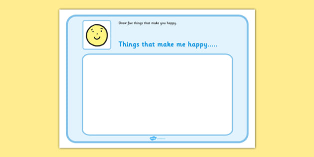 Draw 5 Things That Make You Happy - feelings, emotions, SEN