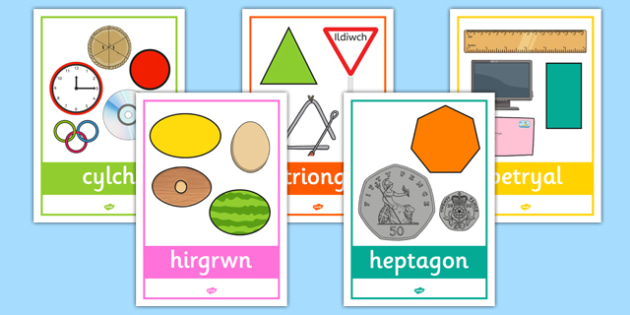 2D Shape Posters with Everyday Examples Cymraeg - cymreag, welsh, 2d shape, posters, display, everyday