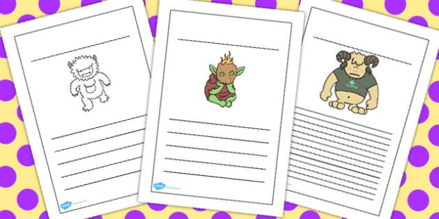 Monster Writing Frames - monster, writing frames, frame, write