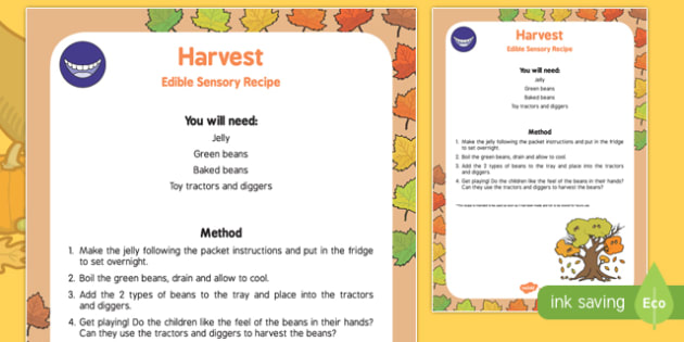 Harvest Edible Sensory Recipe