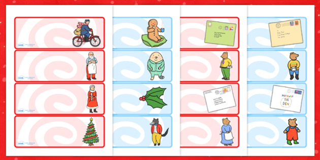 Editable Drawer Peg Name Labels to Support Teaching on The Jolly Christmas Postman - the jolly christmas postman, labels, the jolly postman name labels, christmas labels