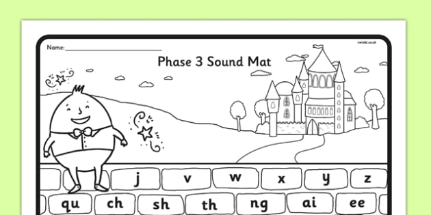 Humpty Dumpty Themed Phase 3 Sound Mat - humpty dumpty, phase 3, sound mat, phonics, letters, sounds