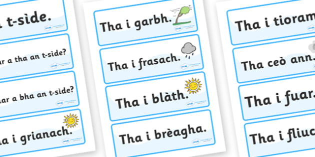 Scottish Gaelic Weather Labels - Scottish Gaelic Weather Labels, weather, labels, sign, signs, label, gaelic, Gaelic, Scottish, Scotland, Gaels, Celtic, language, old, season, weather, rain, sunshin, sun, cloudy, rainy, how is the weather, how's the