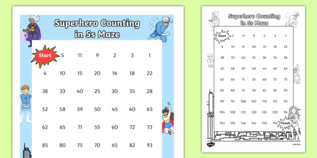 Superhero-Themed Counting in 5s Maze - superhero, counting, count, maze, 5